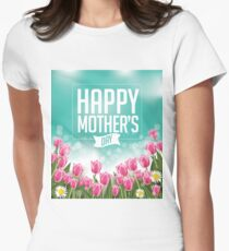 Happy Mothers Day tulips design Womens Fitted T-Shirt