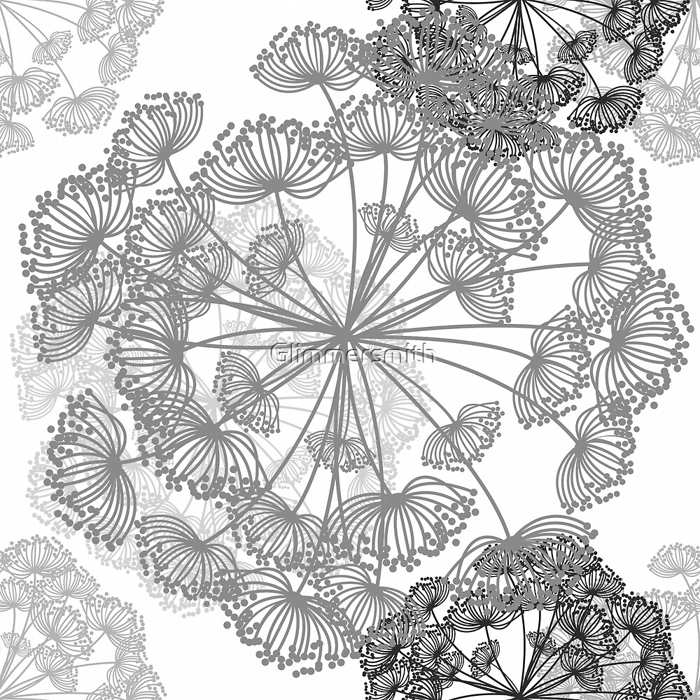 Queen Annes Lace Floral pattern in white, grey, charcoal by Glimmersmith