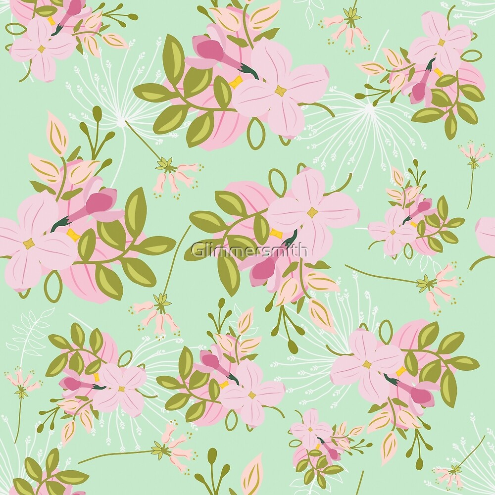 Floral pattern, pink flowers, seafoam mint green background by Glimmersmith