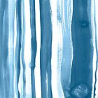 Brushed Indigo Blue Watercolor Stripes by Liz Plummer