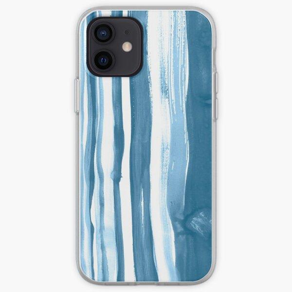Brushed Indigo Blue Watercolor Stripes iPhone Soft Case