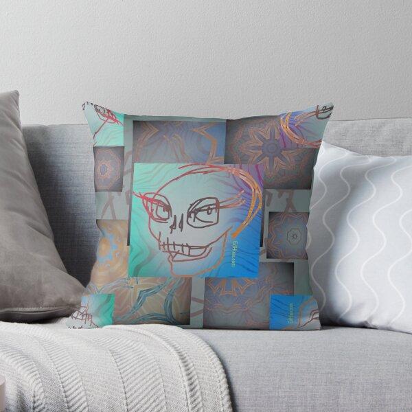 Smiling Skull Quadrille 1 Throw Pillow