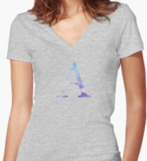 Alpha Blue Watercolor Letter Women's Fitted V-Neck T-Shirt