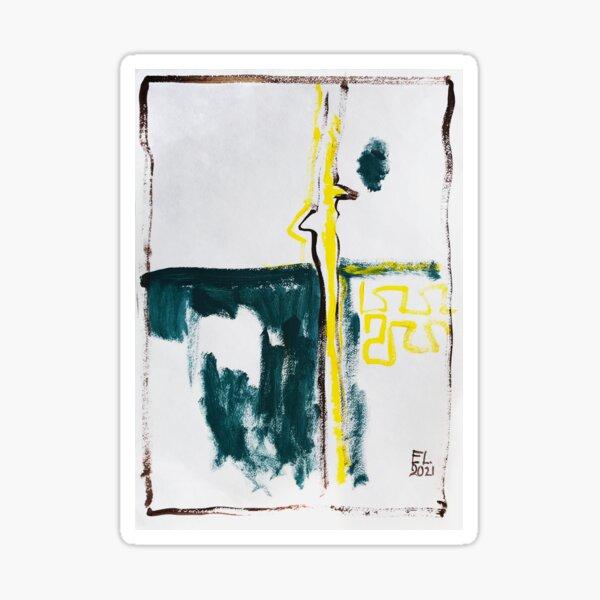 Abstract acrilic minimalistic. White, midnight green and yellow Sticker