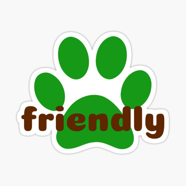 Pet Paw Print Friendly (fondo negro) Pegatina