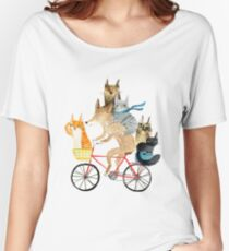 Dog and cats cycling Women's Relaxed Fit T-Shirt