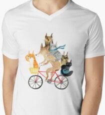 Dog and cats cycling Men's V-Neck T-Shirt