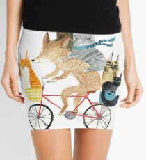 Dog and cats cycling Mini Skirt
