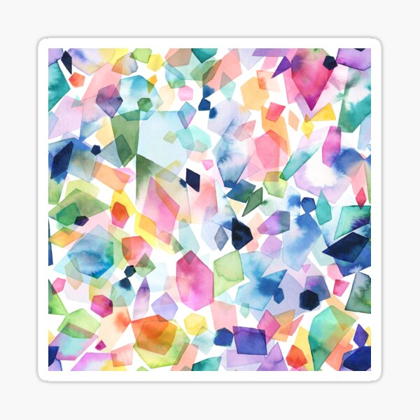 Colorful Watercolor of Crystals, Minerals, Gems, Diamonds and Gemstones Sticker