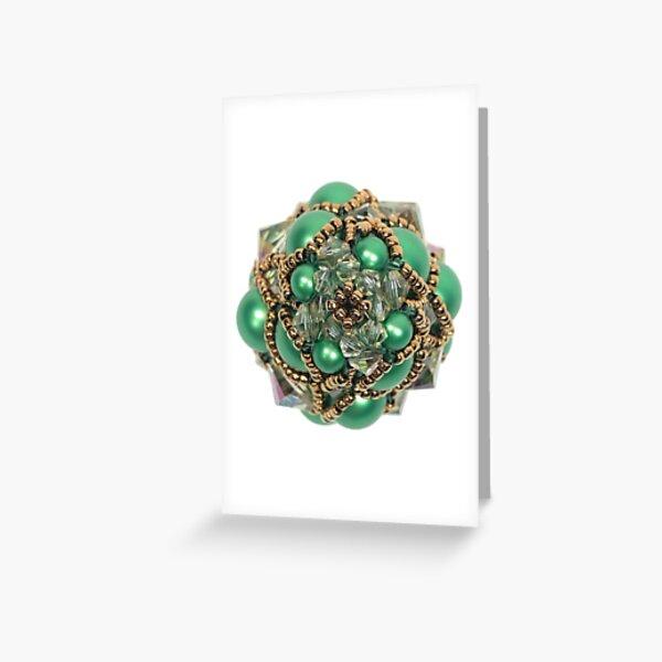 Kieferzäpfchen aus Eden green & luminous green Swarovski Kristallglas Grußkarte