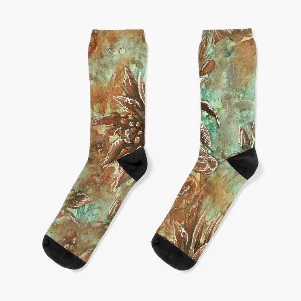 Brown watercolor wild flowers Socks