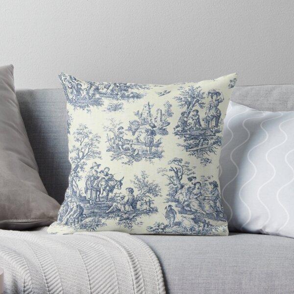 Powder Blue French Toile Picnic Designs Throw Pillow