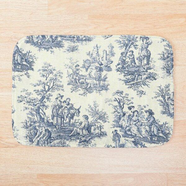 Powder Blue French Toile Picnic Designs Bath Mat
