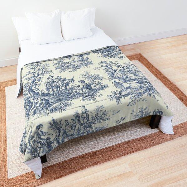 Powder Blue French Toile Picnic Designs Comforter