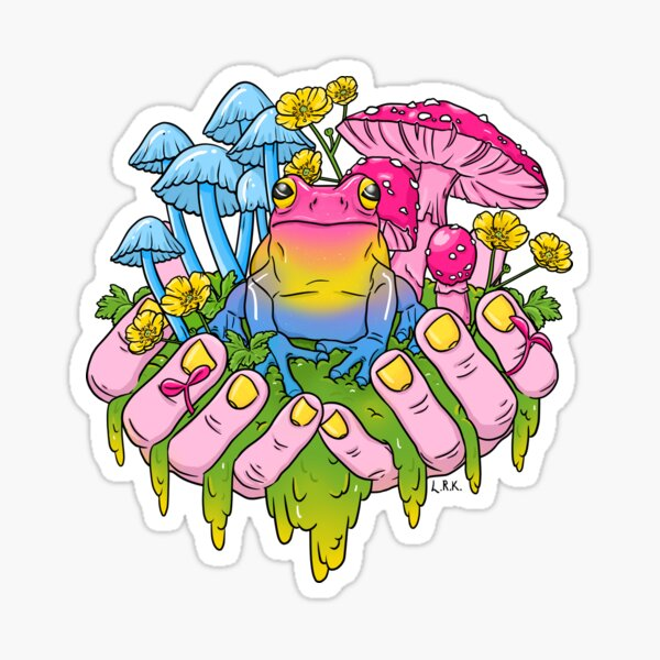 Pansexual Frog Fungi Handful Sticker