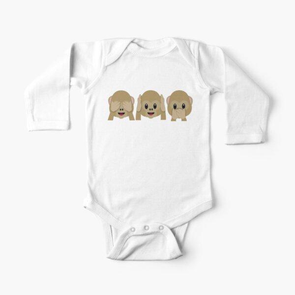 Three Wise Monkeys Long Sleeve Baby One-Piece
