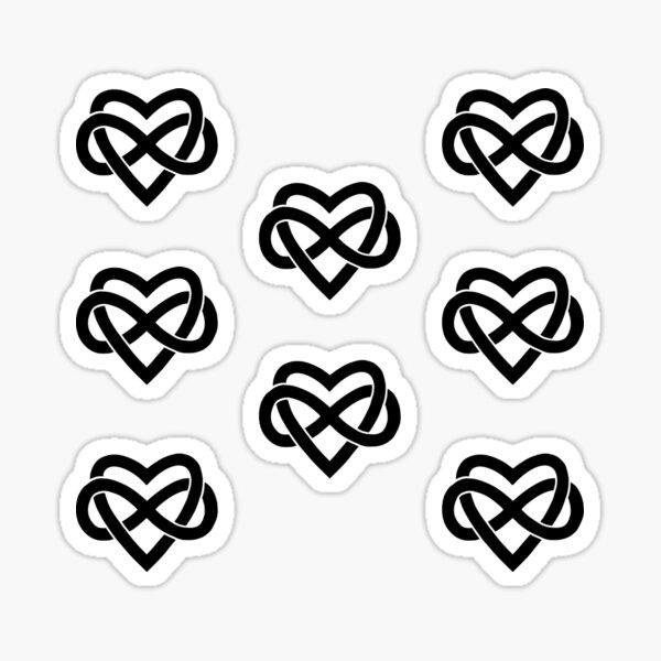 8x black Polyamory Infinity Heart Sticker