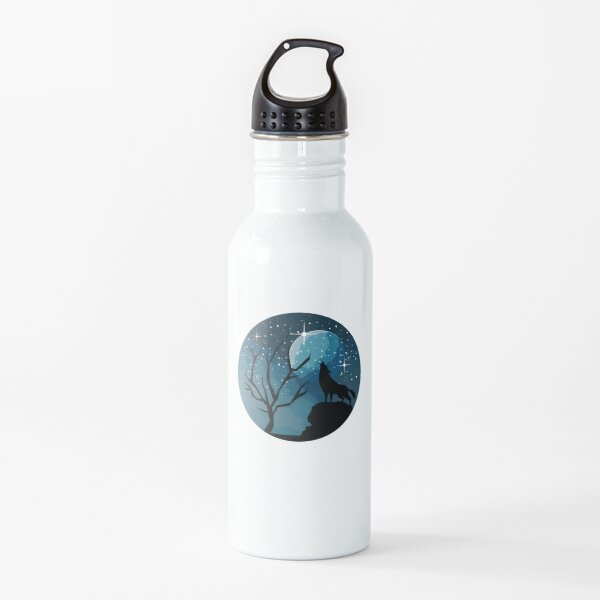 Black Wolf Silhouette with Stars and Moon Water Bottle