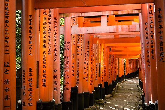 Torii Gates at Fushimi Inari Shrine by madewithtubo
