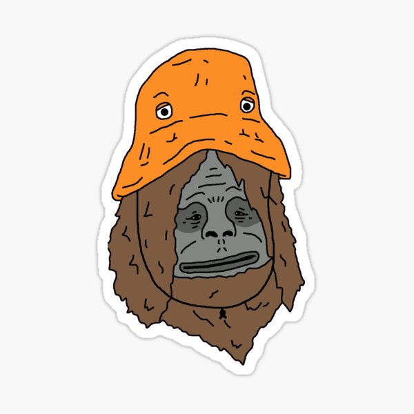 Sassy The Sasquatch with bucket hat. Sticker