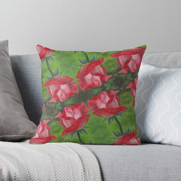 Red Rose Oil Painting Pattern Throw Pillow
