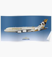 Illustration of Etihad Airways Airbus A380 - Blue Version Poster