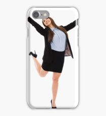 Successful businesswoman with arms raised iPhone Case/Skin