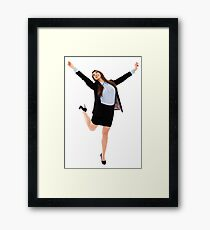 Successful businesswoman with arms raised Framed Print