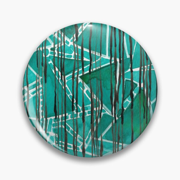 Abstract emerald green triangles and stripes Pin