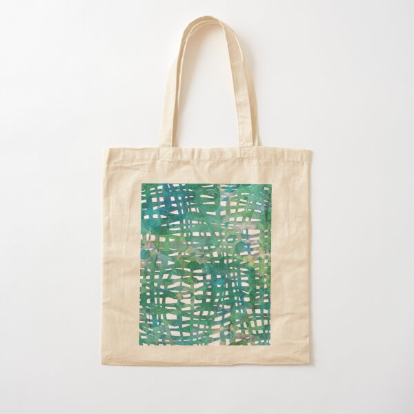 Intertwined blades of grass abstract peaceful watercolor painting Cotton Tote Bag