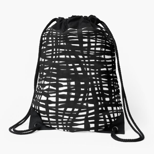 Black and white abstract twined stripes Drawstring Bag