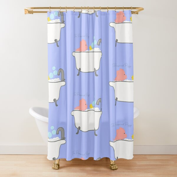The Pampered Piggy Loves Bubble baths Shower Curtain