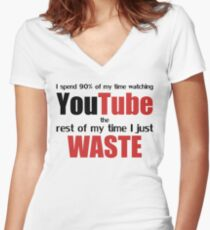 Watching YouTube Women's Fitted V-Neck T-Shirt