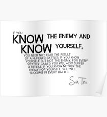 know yourself and know the enemy - sun tzu Poster