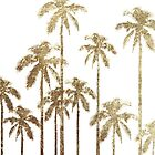 Glamorous Gold Tropical Palm Trees on White by Blkstrawberry
