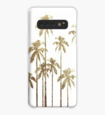 Glamorous Gold Tropical Palm Trees on White Case/Skin for Samsung Galaxy