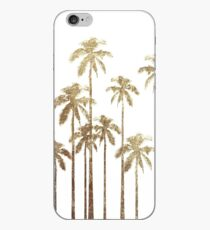 Glamorous Gold Tropical Palm Trees on White iPhone Case