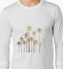 Glamorous Gold Tropical Palm Trees on White T-Shirt