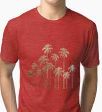 Glamorous Gold Tropical Palm Trees on White Tri-blend T-Shirt