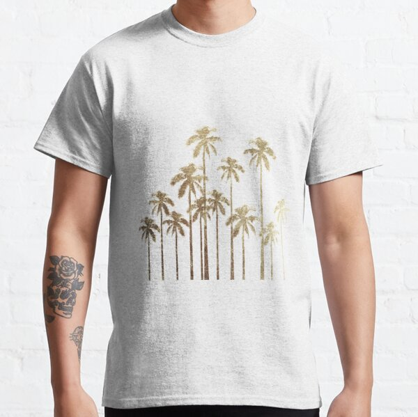 Glamorous Gold Tropical Palm Trees on White Classic T-Shirt