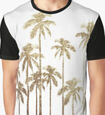 Glamorous Gold Tropical Palm Trees on White Graphic T-Shirt