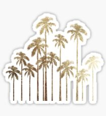 Glamorous Gold Tropical Palm Trees on White Sticker
