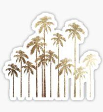 Glamorous Gold Tropical Palm Trees on White Sticker