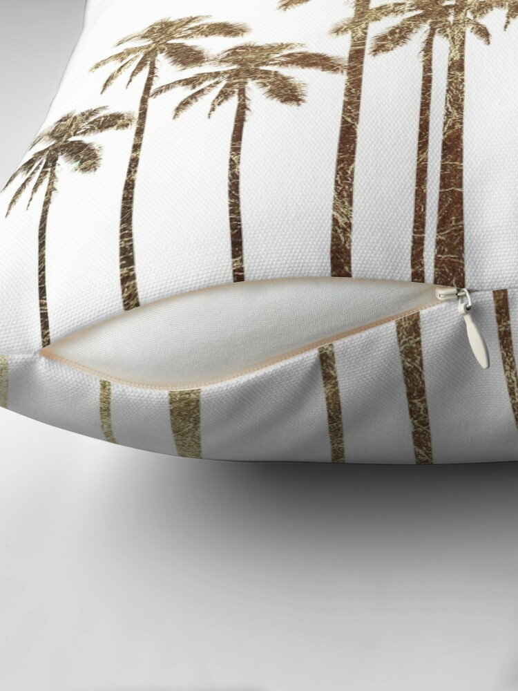 Alternative Ansicht von Glamouröse tropische Goldpalmen auf Weiß Dekokissen