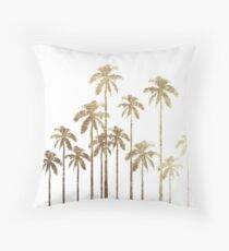 Glamorous Gold Tropical Palm Trees on White Throw Pillow