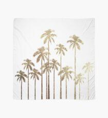 Glamorous Gold Tropical Palm Trees on White Scarf