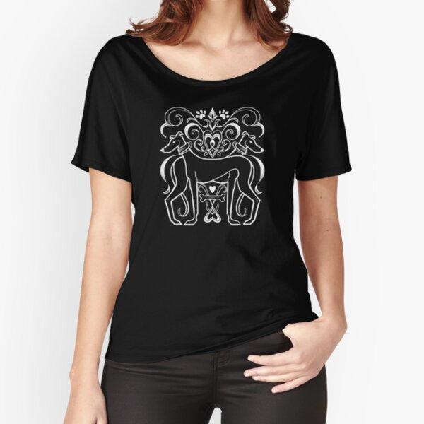 Black & White Elegant Damask Greyhound Crest Relaxed Fit T-Shirt