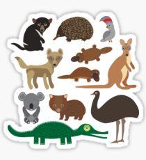 Australian animals on green background Sticker