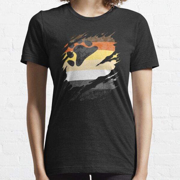 Gay Bear Pride Flag Ripped Reveal Essential T-Shirt