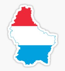 Flag Map of Luxembourg  Sticker